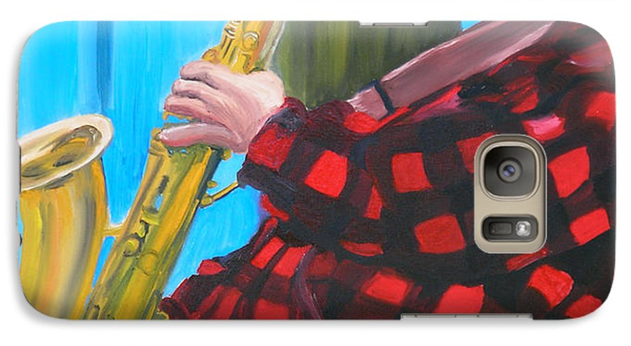 Sax Player Galaxy S7 Case featuring the painting Play It Mr Sax Man by Michael Lee