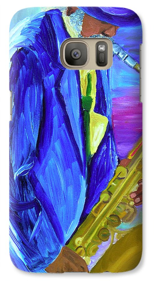 Street Musician Galaxy S7 Case featuring the painting Playing The Blues by Michael Lee