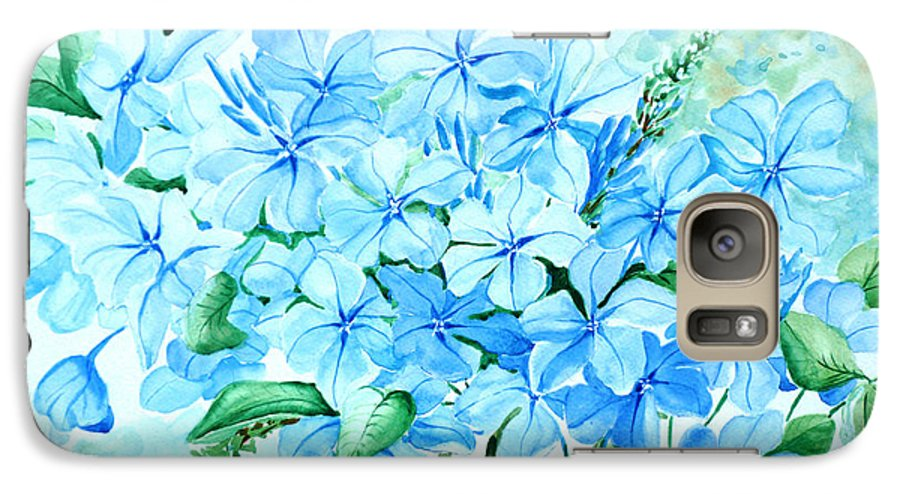 Floral Blue Painting Plumbago Painting Flower Painting Botanical Painting Bloom Blue Painting Galaxy S7 Case featuring the painting Plumbago by Karin Dawn Kelshall- Best