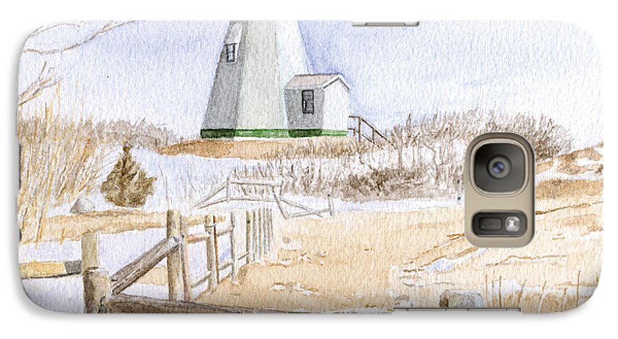 Lighthosue Galaxy S7 Case featuring the painting Plymouth Light In Winter by Dominic White