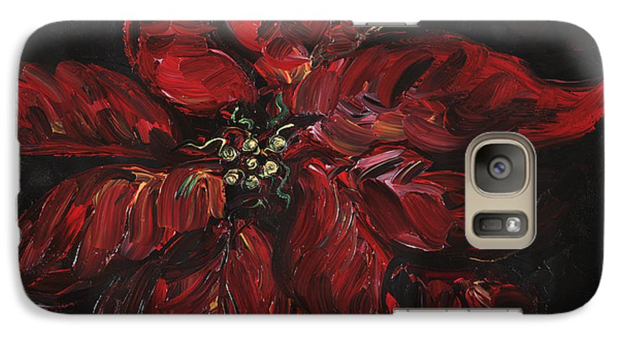Abstract Galaxy S7 Case featuring the painting Poinsettia by Nadine Rippelmeyer