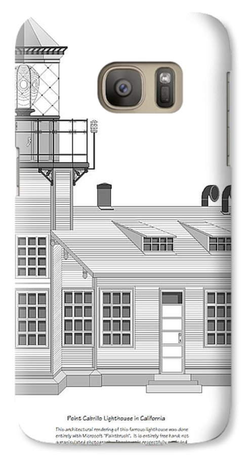 Lighthouse Galaxy S7 Case featuring the painting Point Cabrillo Architectural Drawing by Anne Norskog