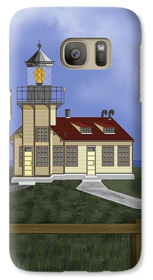 Lighthouse Galaxy S7 Case featuring the painting Point Cabrillo California by Anne Norskog