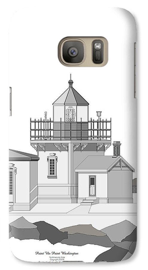 Lighthouse Galaxy S7 Case featuring the painting Point No Point As Architectural Drawing by Anne Norskog