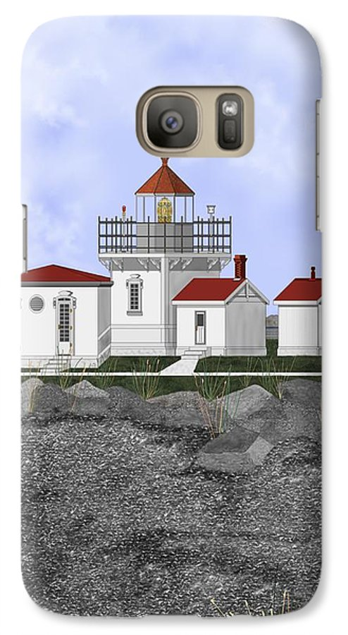 Lighthouse Galaxy S7 Case featuring the painting Point No Point Lighthouse by Anne Norskog