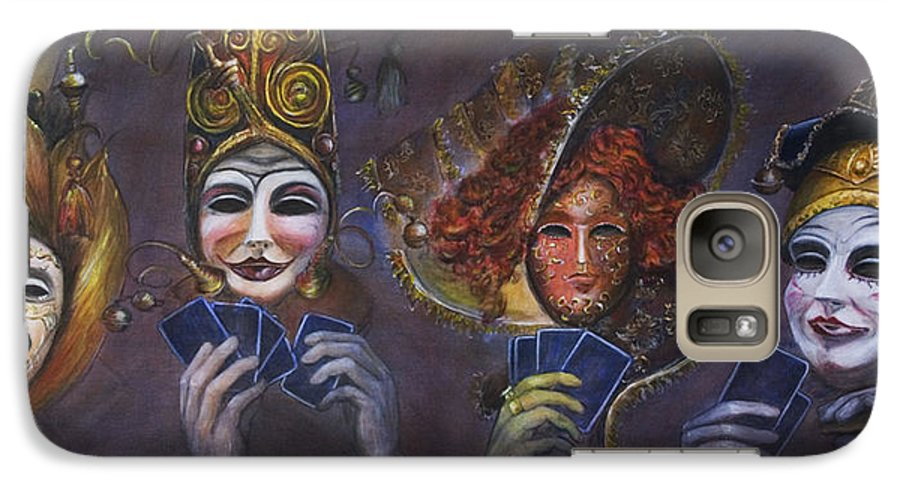 Masks Galaxy S7 Case featuring the painting Poker Face by Nik Helbig