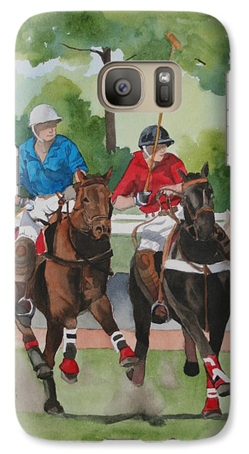 Polo Galaxy S7 Case featuring the painting Polo In The Afternoon 2 by Jean Blackmer