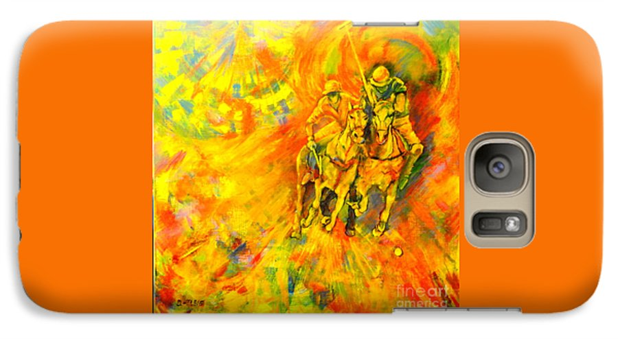 Horses Galaxy S7 Case featuring the painting Poloplayer by Dagmar Helbig
