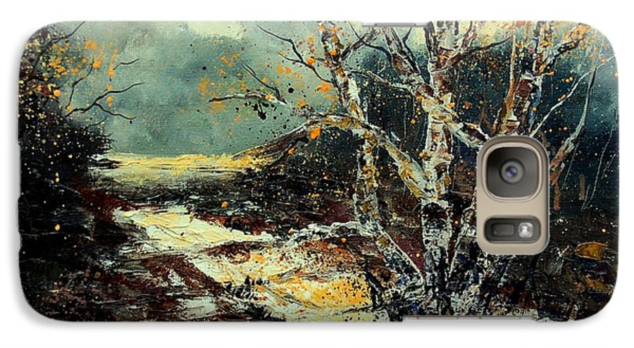 Tree Galaxy S7 Case featuring the painting Poplars 45 by Pol Ledent