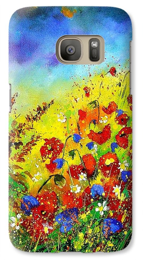 Poppies Galaxy S7 Case featuring the print Poppies And Blue Bells by Pol Ledent