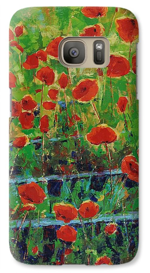 Poppies Galaxy S7 Case featuring the painting Poppies And Traverses 1 by Iliyan Bozhanov