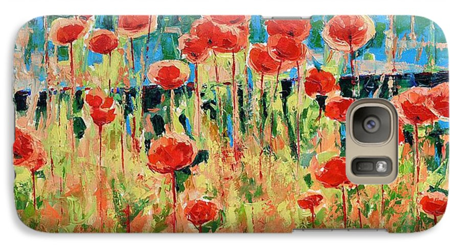 Poppies Galaxy S7 Case featuring the painting Poppies And Traverses 2 by Iliyan Bozhanov