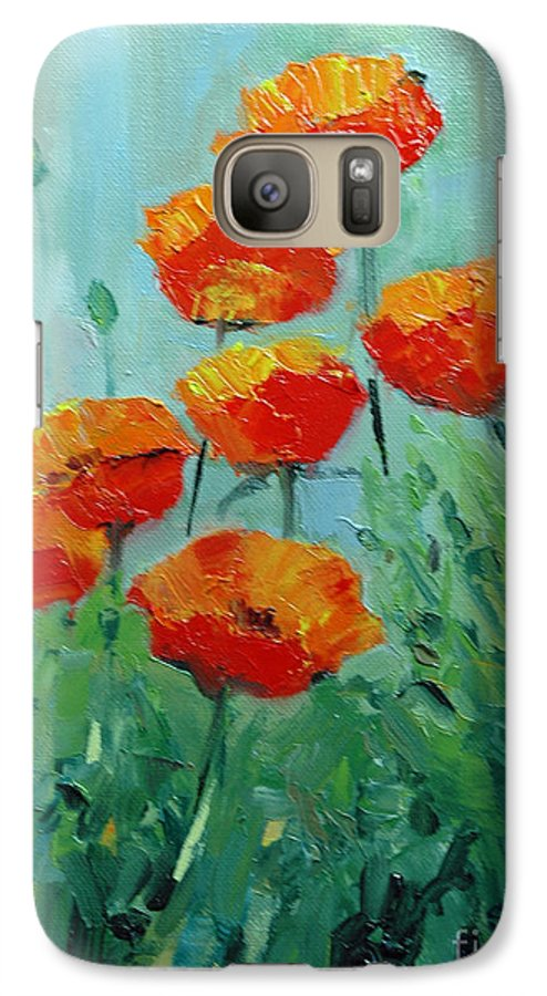 Floral Galaxy S7 Case featuring the painting Poppies For Sally by Glenn Secrest