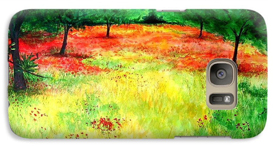 Landscape Galaxy S7 Case featuring the painting Poppies In The Almond Grove by Lizzy Forrester