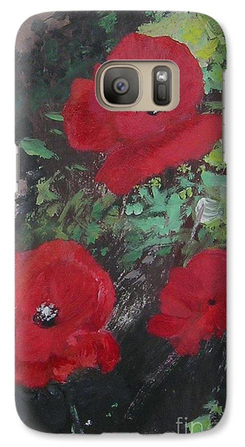 Red Galaxy S7 Case featuring the painting Poppies by Lizzy Forrester