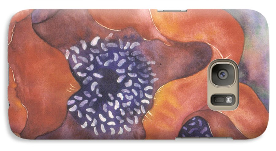 Flowers Galaxy S7 Case featuring the painting Poppies On Blue by Christina Rahm Galanis