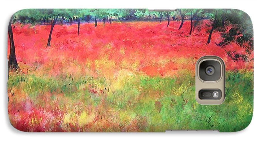 Original Landscape Painting. Poppy Field Galaxy S7 Case featuring the painting Poppy Field II by Lizzy Forrester