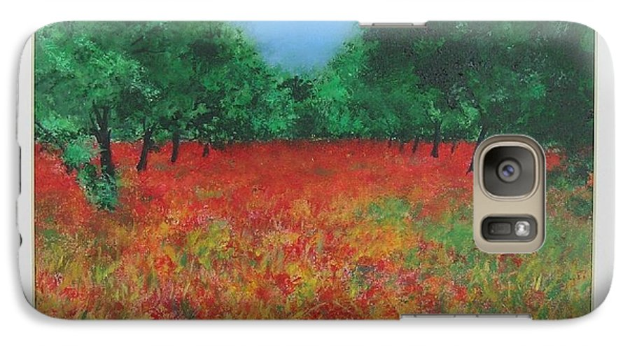 Poppy Galaxy S7 Case featuring the painting Poppy Field In Ibiza by Lizzy Forrester