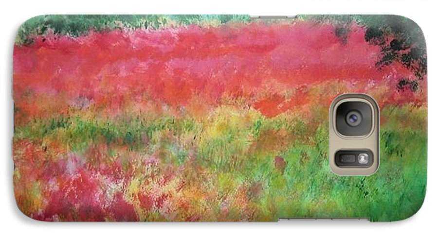 Lanscape Galaxy S7 Case featuring the painting Poppy Field by Lizzy Forrester