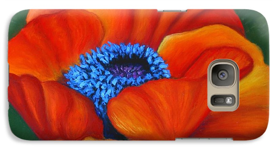 Red Flower Galaxy S7 Case featuring the painting Poppy Pleasure by Minaz Jantz