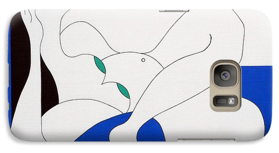 Women Green Bleu White Special Galaxy S7 Case featuring the painting Position Women by Hildegarde Handsaeme