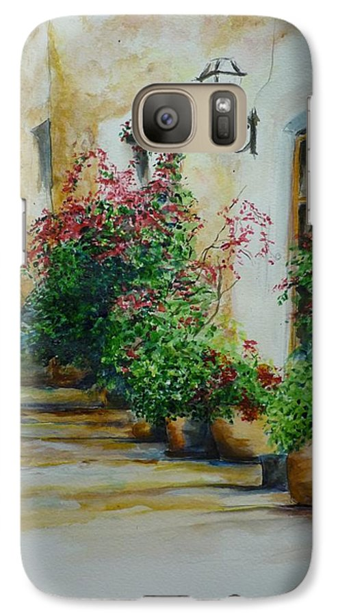 Earthenware Pots Galaxy S7 Case featuring the painting Pots And Plants by Lizzy Forrester