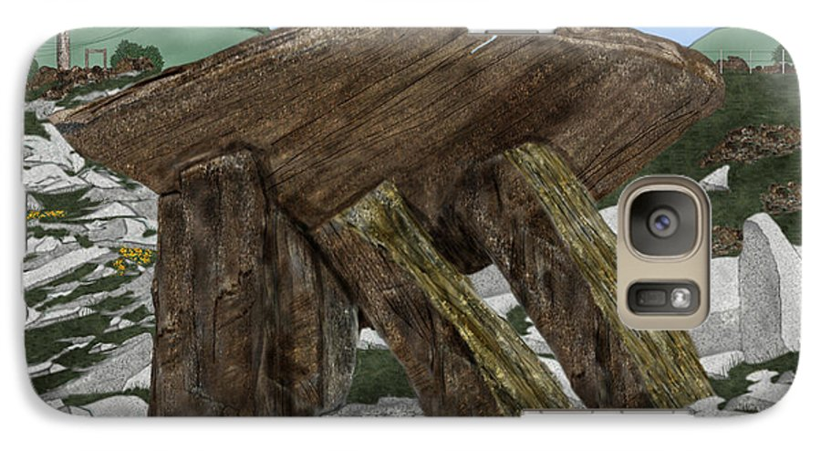 Landscape Galaxy S7 Case featuring the painting Poulnabrone Dolmen County Clare Ireland by Anne Norskog