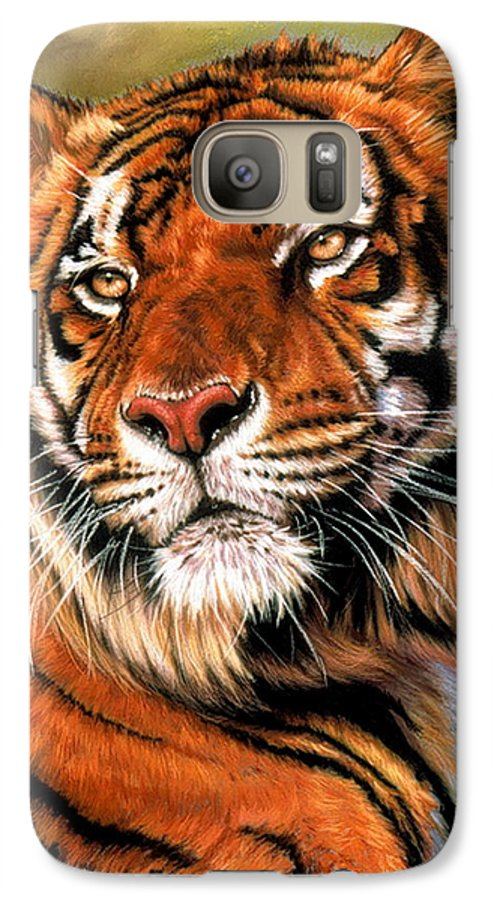 Tiger Galaxy S7 Case featuring the pastel Power And Grace by Barbara Keith