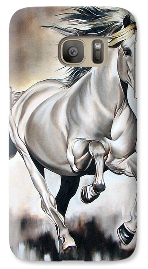 Horse Galaxy S7 Case featuring the painting Power by Ilse Kleyn
