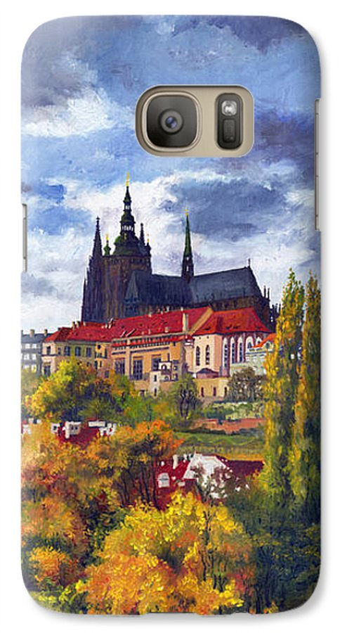 Prague Galaxy S7 Case featuring the painting Prague Castle With The Vltava River by Yuriy Shevchuk