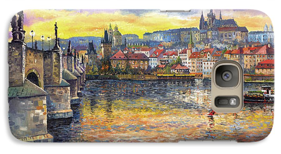 Oil On Canvas Galaxy S7 Case featuring the painting Prague Charles Bridge And Prague Castle With The Vltava River 1 by Yuriy Shevchuk