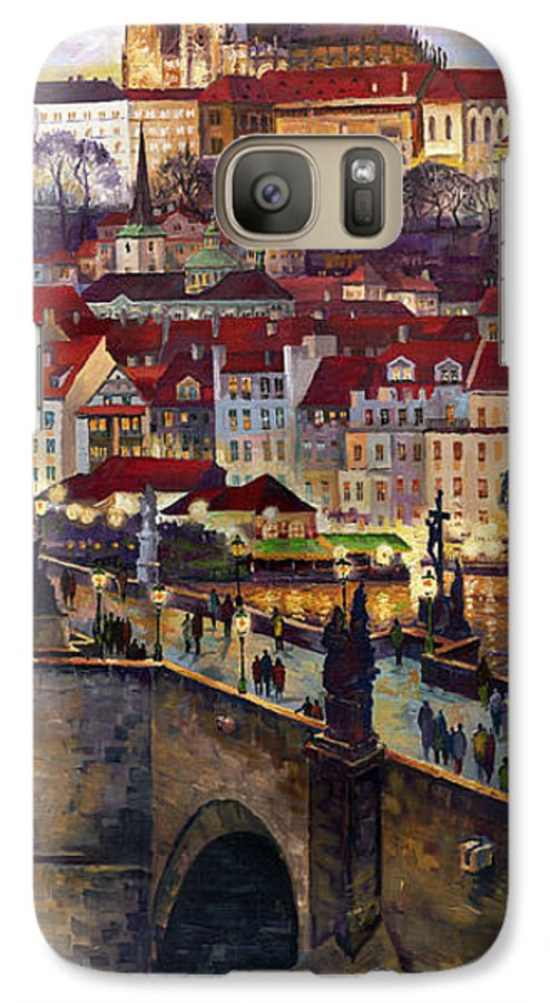 Prague Galaxy S7 Case featuring the painting Prague Charles Bridge With The Prague Castle by Yuriy Shevchuk