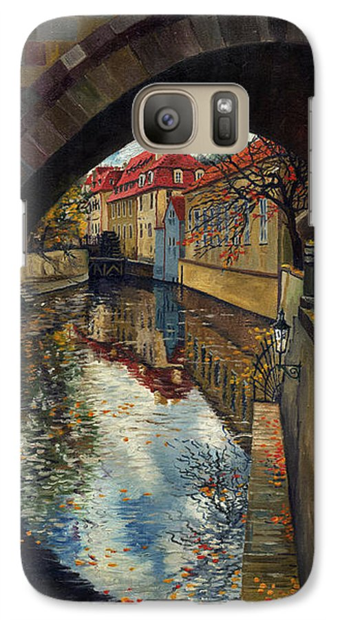Oil Galaxy S7 Case featuring the painting Prague Chertovka 3 by Yuriy Shevchuk