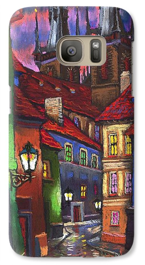 Pastel Galaxy S7 Case featuring the painting Prague Old Street 01 by Yuriy Shevchuk