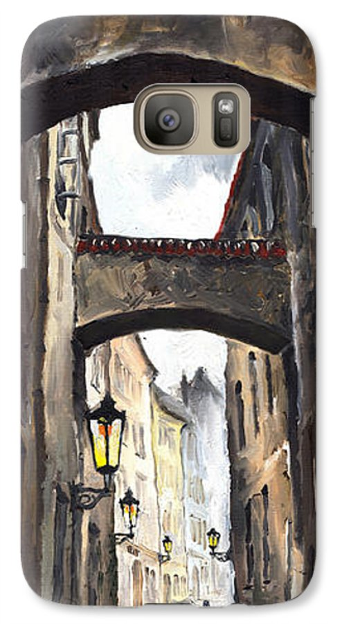 Oil On Canvas Paintings Galaxy S7 Case featuring the painting Prague Old Street 02 by Yuriy Shevchuk