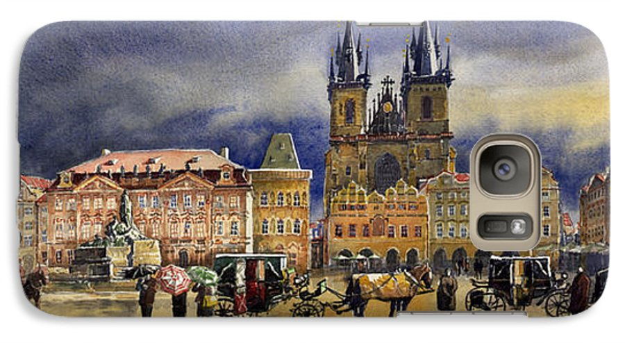 Watercolor Galaxy S7 Case featuring the painting Prague Old Town Squere After Rain by Yuriy Shevchuk