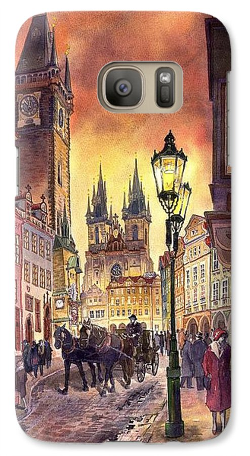Cityscape Galaxy S7 Case featuring the painting Prague Old Town Squere by Yuriy Shevchuk