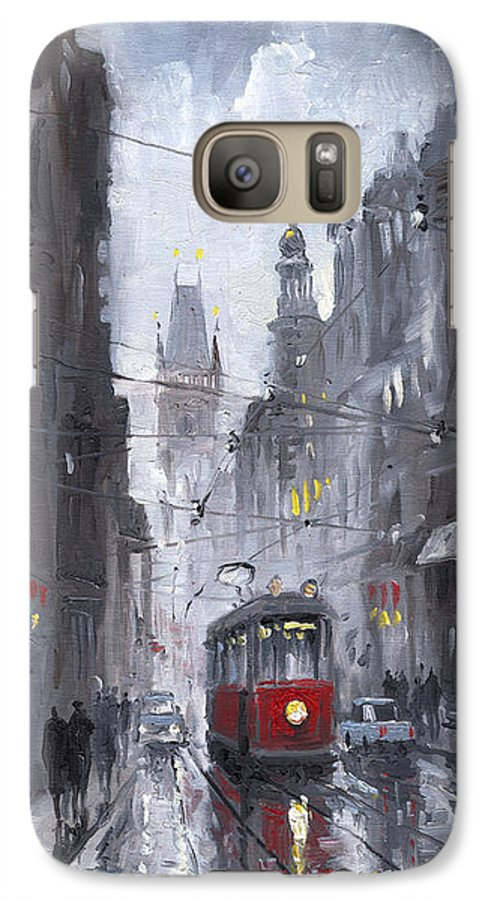 Oil On Canvas Galaxy S7 Case featuring the painting Prague Old Tram 03 by Yuriy Shevchuk
