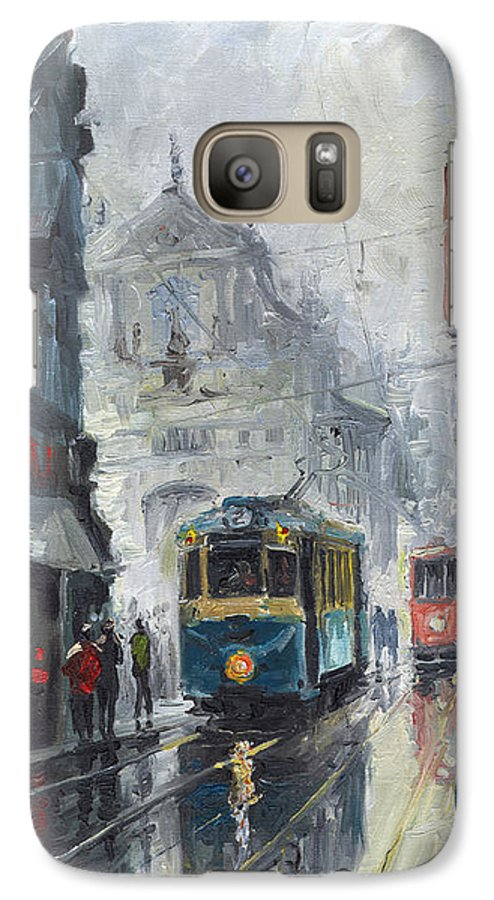 Oil On Canvas Galaxy S7 Case featuring the painting Prague Old Tram 04 by Yuriy Shevchuk