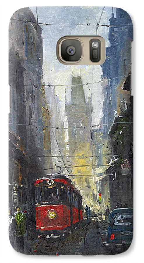 Oil On Canvas Paintings Galaxy S7 Case featuring the painting Prague Old Tram 05 by Yuriy Shevchuk