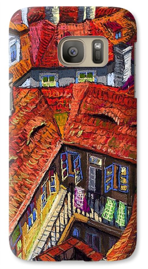 Pastel Galaxy S7 Case featuring the painting Prague Roofs 01 by Yuriy Shevchuk