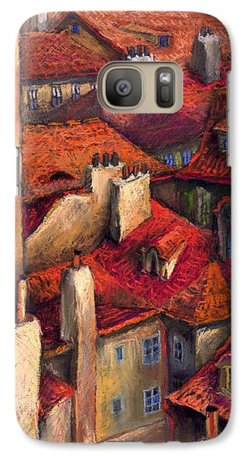 Prague Galaxy S7 Case featuring the painting Prague Roofs by Yuriy Shevchuk
