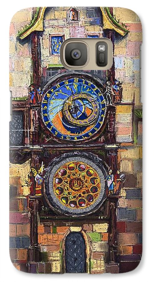 Cityscape Galaxy S7 Case featuring the painting Prague The Horologue At Oldtownhall by Yuriy Shevchuk
