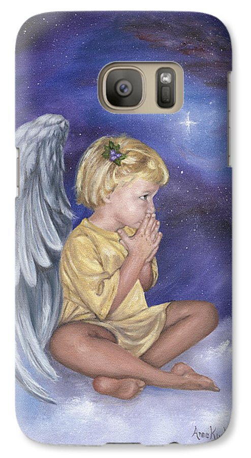 Christmas Galaxy S7 Case featuring the painting Praying Angel by Anne Kushnick
