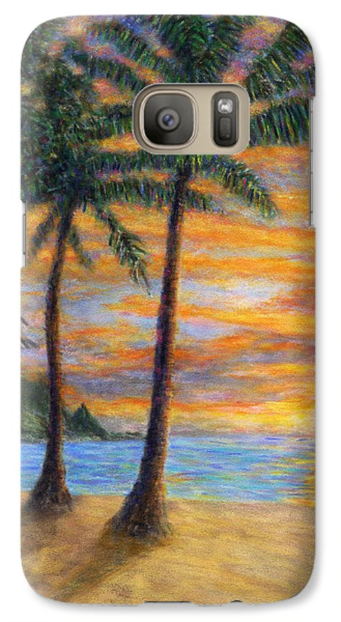 Coastal Decor Galaxy S7 Case featuring the painting Princeville Beach Palms by Kenneth Grzesik