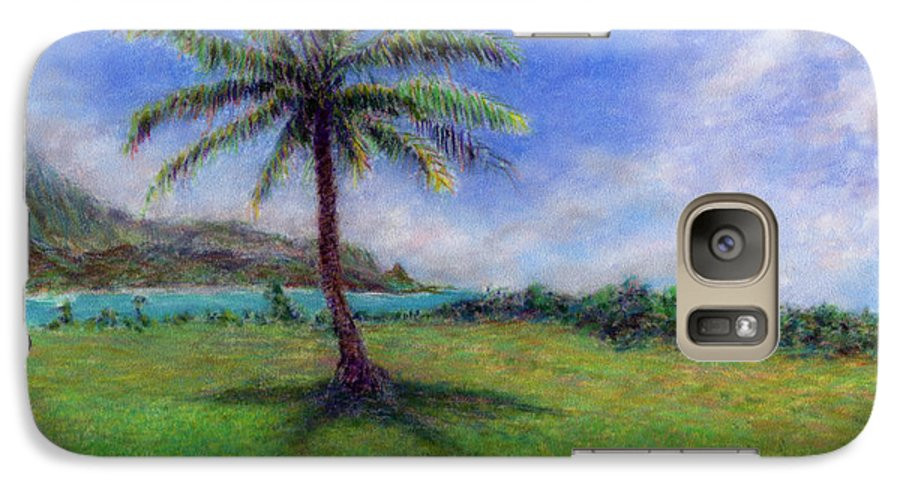 Rainbow Colors Pastel Galaxy S7 Case featuring the painting Princeville Palm by Kenneth Grzesik