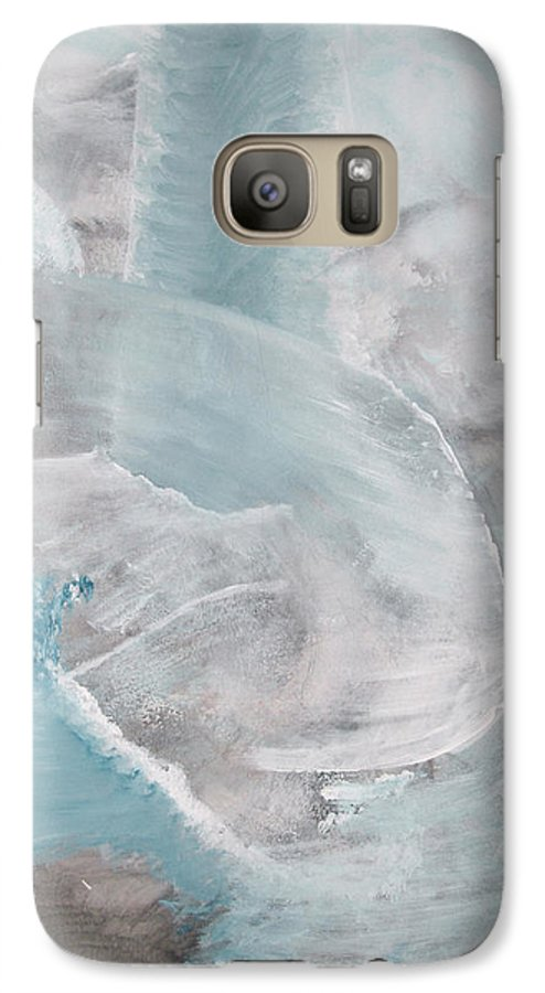 Abstract Acrylic Darkestartist Landscape Painting Waterfall Blue Water Galaxy S7 Case featuring the painting Private Waterfall by Darkest Artist
