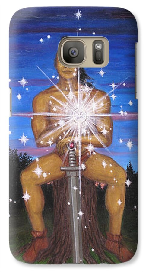 Fantasy Galaxy S7 Case featuring the painting Protector Of The Mystical Forest by Roz Eve