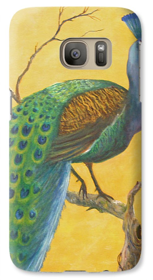Peacock; Birds; Fall Leaves Galaxy S7 Case featuring the painting Proud As A Peacock by Ben Kiger