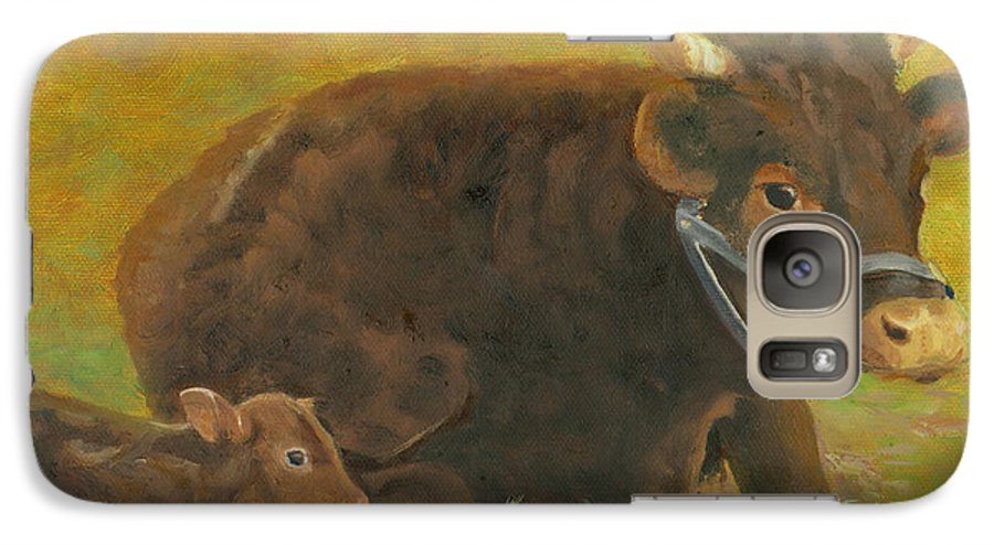 Cow Calf Bull Farmscene Galaxy S7 Case featuring the painting Proud Pappa by Paula Emery